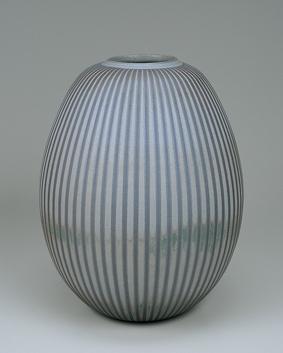 蕎麦釉彩線条文壺