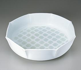 白磁緑釉波彫文八角鉢