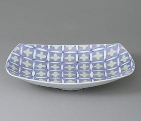 白磁染紫緑釉花文鉢