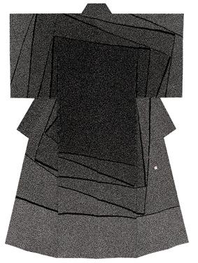友禅訪問着「黒地位相割付文序」