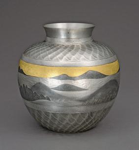 墨絵象嵌南鐐花瓶「雲濤」