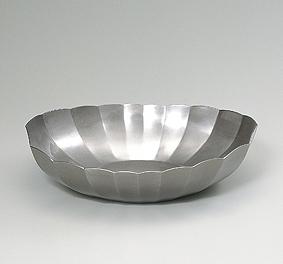 鍛朧銀舟形輪花鉢