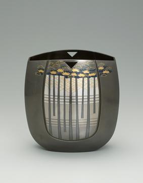 象嵌朧銀花器「樹影」