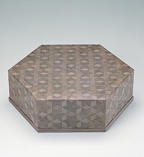 神代杉木画六角箱