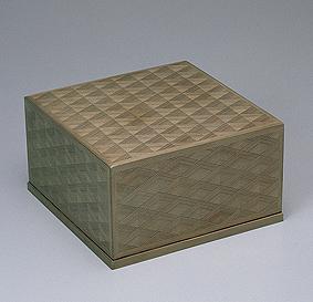 神代杉木画四方箱