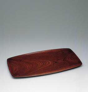 欅拭漆舟形盛器