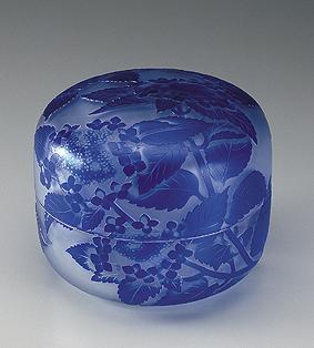 青被額紫陽花文硝子蓋物